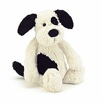 Bashful Puppy Black & Cream Medium 12""