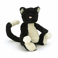 Bashful Cat Black & White Medium 12""
