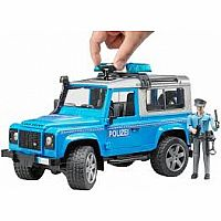 Land Rover Police vehicle blue/silver w light skin policeman