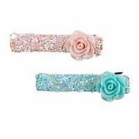 Boutique Glitter Rosette Hairclips, 2 Pcs