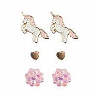 Boutique Unicorn Studded Earrings, 3 Sets