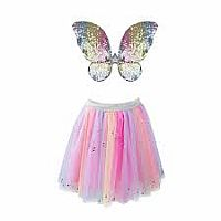 Rainbow Sequins Skirt w/Wings and Wand