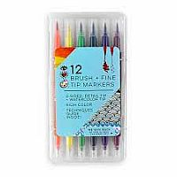 12 Fine Brush Tip Markers