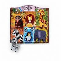 6pc Zoo Wood Playset and Puzzle