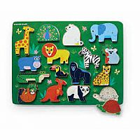 16pc Wood Zoo Playset & Puzzle